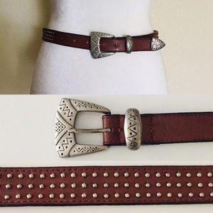 80's Zigzag Geometric Leather Studded Belt